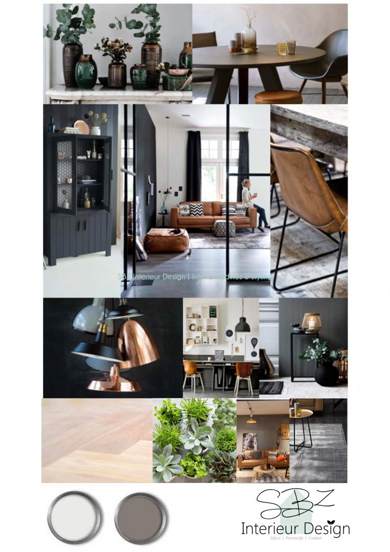 Moodboard 1 grijs wit cognac en metalen sbz for Cognac kleur combineren interieur